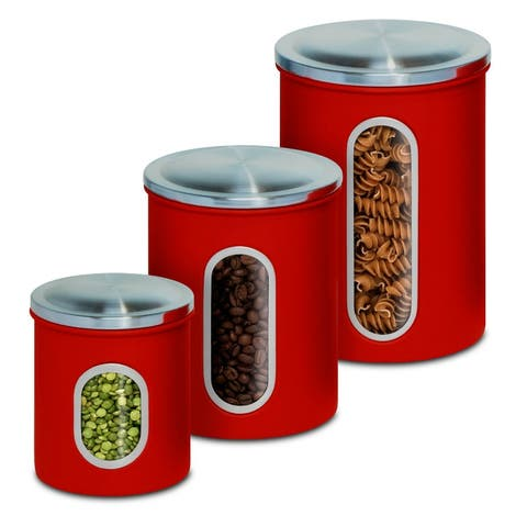 Honey-Can-Do KCH-03011 Metal Nested Canister Set, Red, 3-Pack