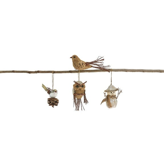 Pack of 8 Handmade Country Rustic Twig and Burlap Woodland Animal Christmas Figure Ornaments 5""
