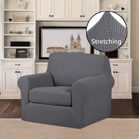 PrimeBeau 2-Piece Jacquard Stretchy Slicpver Chair Size - 7565