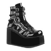 Demonia Women's Concord 57 Mid Calf Boot Black Patent Synthetic