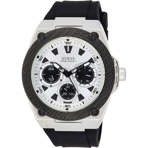 Guess Men's W1049G3 Legacy White Dial With Black Rubber Strap - 1 Size. Opens flyout.