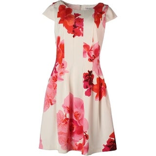 Calvin Klein Womens Floral Print Cap Sleeve Wear to Work Dress