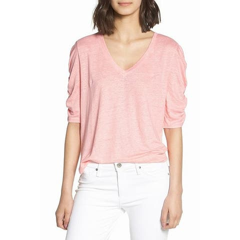Chelsea28 Pink Womens Size XXS Ruched Elbow Sleeve V-Neck Top
