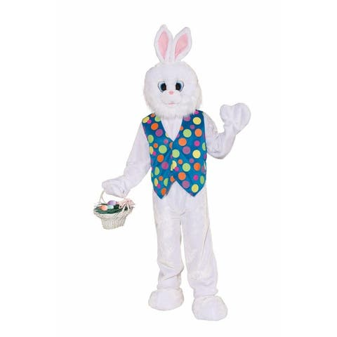 Funny Easter Bunny Plush Adult Costume - White