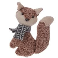"""4.5"""" Alpine Chic Brown Stuffed Fox with Black and White Scarf Christmas Ornament"""