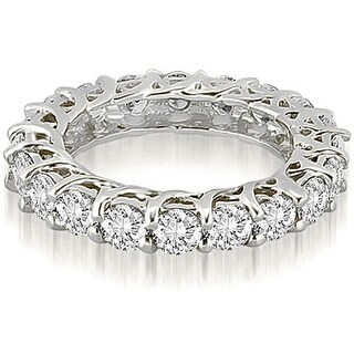 14K White Gold Lucida 3.30 cttw. Round Cut Diamond Eternity Wedding Ring HI,SI1-2