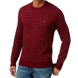Tommy Hilfiger NEW Red Men Large L Geo Print Pullover Crewneck Sweater