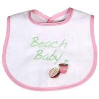 "Raindrops Baby Girls Pink ""Beach Baby"" Embroidered Bib - One size"