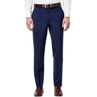 Ralph Lauren Regular Fit Blue Solid Cotton Flat Front Dress Pants 38x34