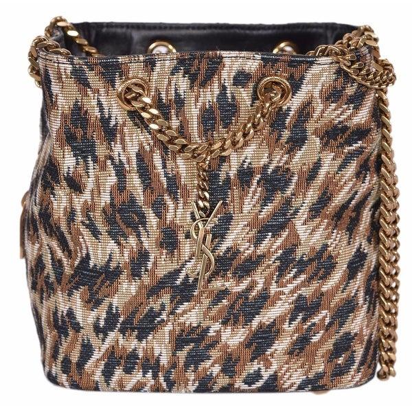 77f3f2cfcfc3 Shop Saint Laurent YSL Emmanuelle Woven Leopard Print Bucket Chain ...