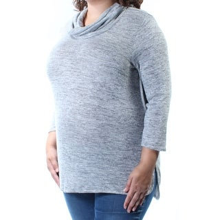 Womens Gray 3/4 Sleeve Cowl Neck Sweater Size XL