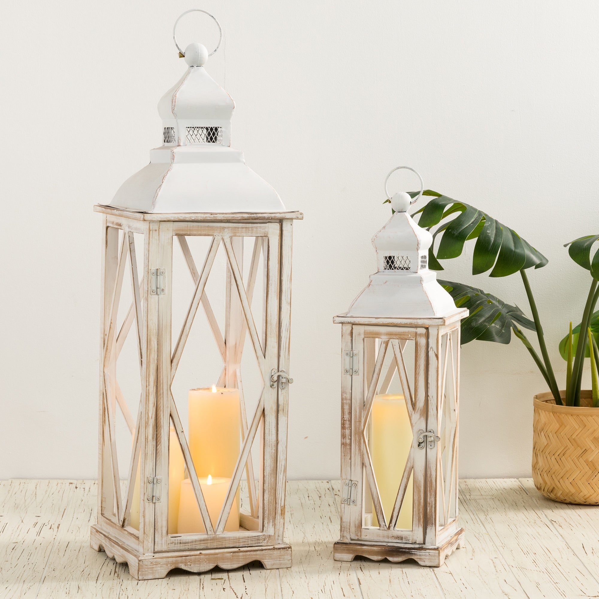 Glitzhome Farmhouse Wooden Metal Lantern Set Of Two On Sale Overstock 26265372