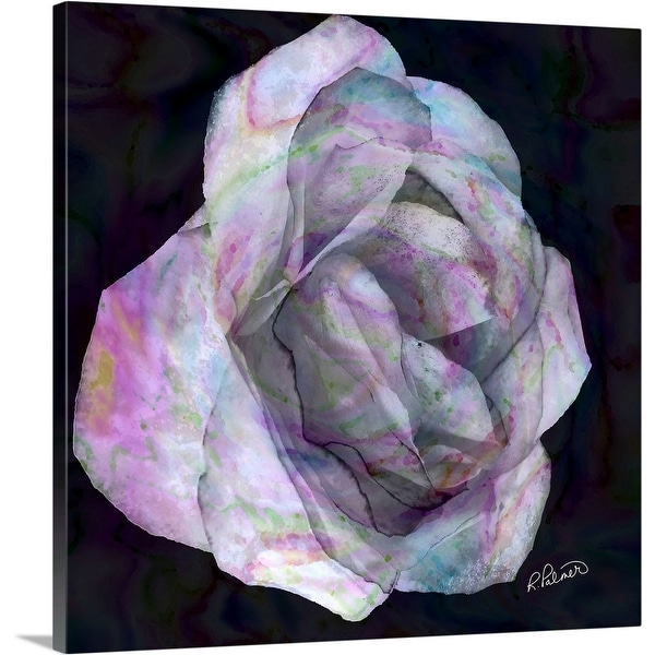 """Pink Rose On Dark"" Canvas Wall Art"