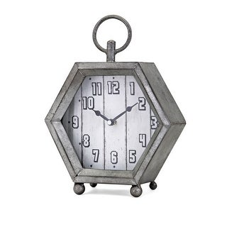 "IMAX Home 16300  10"" x 8"" Hawkins Analog Desk Clock - Gray"
