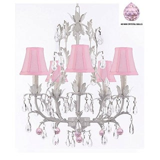 White Wrought Iron Floral Chandelier Lighting With Pink Crystal Balls And Pink Shades