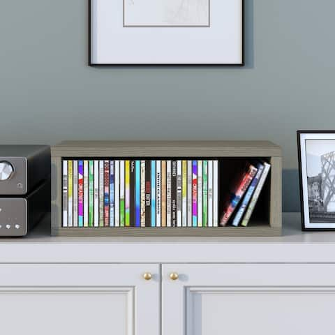 Way Basics Eco Stackable Media Storage Rack Shelving and Organizer - Holds 40 CDs, Grey