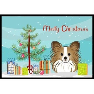 Carolines Treasures BB1620JMAT Christmas Tree & Papillon Indoor or Outdoor Mat 24 x 36
