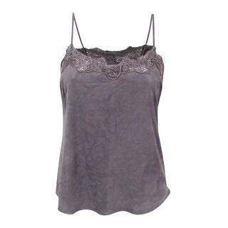 Lauren Ralph Lauren Women's Lace-Trim Suede Camisole (14, Grey) - Grey - 14