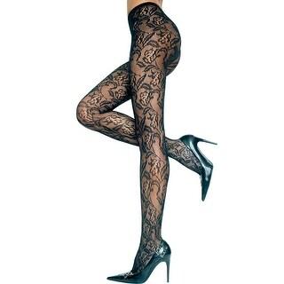 Seamless Floral Lace Pantyhose, Black Lace Pantyhose
