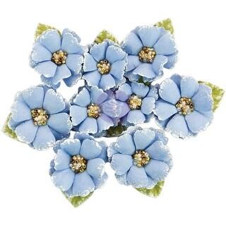 Prima Marketing Fabric Flowers W/Beads & Flocking 9/Pkg-South Island
