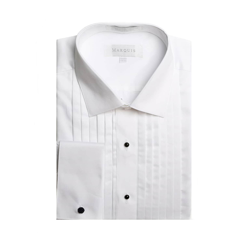 Marquis Men's White French Cuff Spread Collar 1/2 Inch Pleats Tuxedo Shirt  - Overstock - 18450232