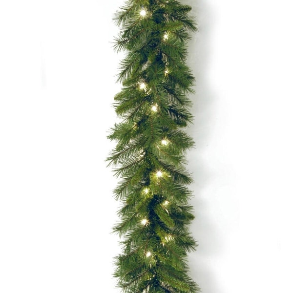 "9' x 10"" Pre-Lit Winchester Pine Artificial Christmas Garland - Clear Lights"