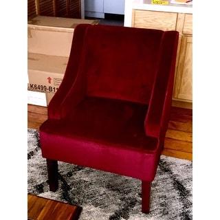 Shop Homepop Swoop Arm Accent Chair In Berry Merlot Velvet