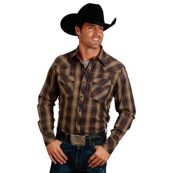 e3056924bebca Shop Stetson Western Shirt Mens Plaid Satin L S Brown - Free Shipping Today  - Overstock - 27342662