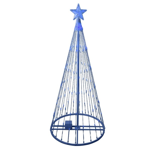6' Blue LED Light Show Cone Christmas Tree Lighted Outdoor Decoration