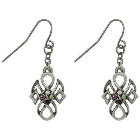 Pewter Rhinestone Tribal Knot Earrings