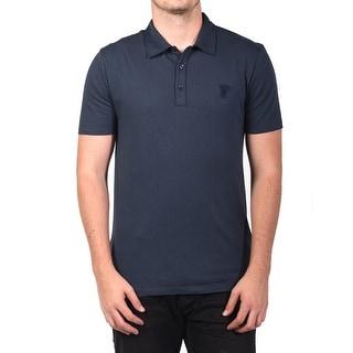 Versace Men Soft Cotton Polo Shirt Navy