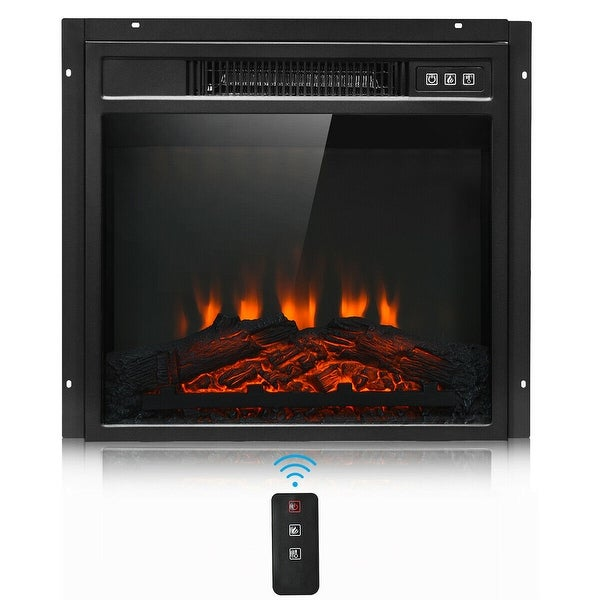"""Gymax 18"""" Electric Fireplace Freestanding &Wall-Mounted Heater Log Flame Remote 1400W"""