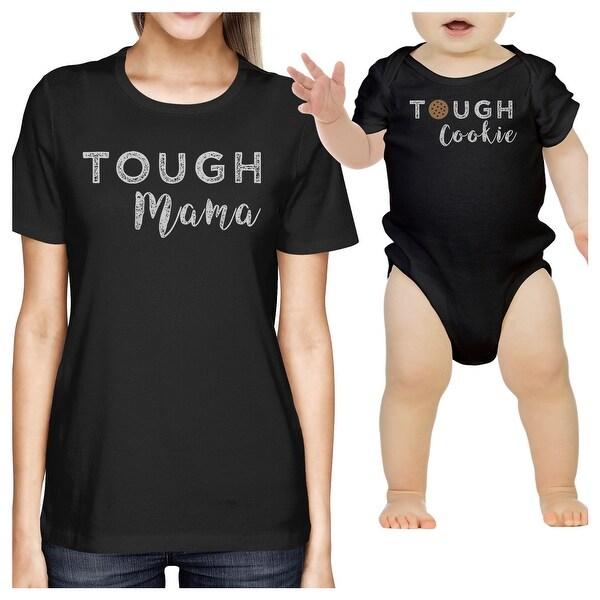 Tough Mama & Cookie Black Mom T-Shirt Baby Bodysuit Matching Top