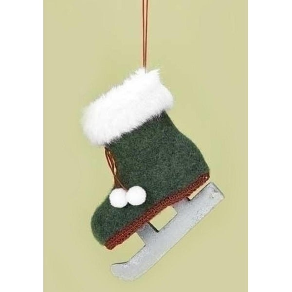 "4.25"" Country Alpine Green and White Faux Fur Trimmed Ice Skate Christmas Ornament with Pom Poms"
