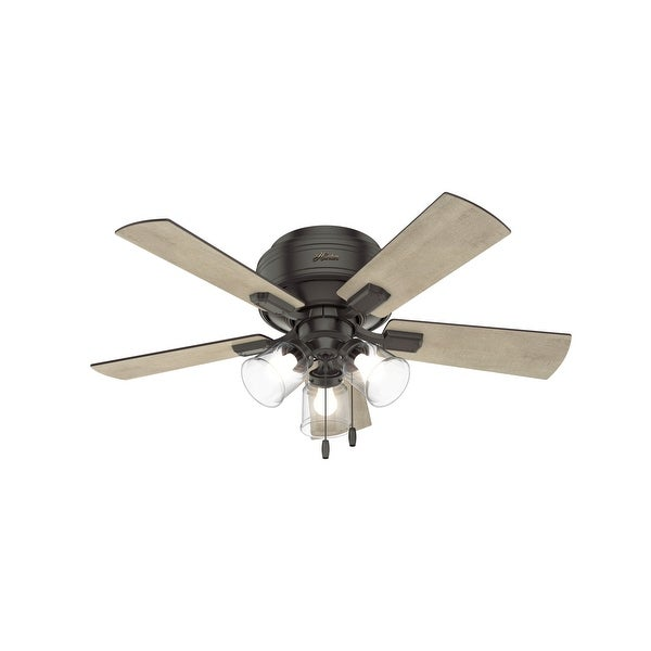 """Hunter 42"""" Crestfield Low Profile Ceiling Fan with LED Light Kit and Pull Chain. Opens flyout."""