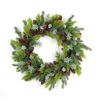 """30"""" Green and Brown Artificial Mixed Pine and Succulent Christmas Wreath"""
