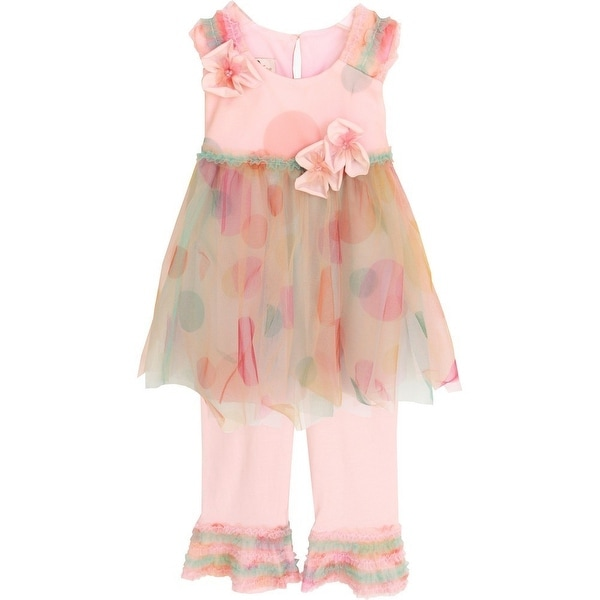 Isobella & Chloe Baby Girls Cotton Candy Confetti Two Piece Pant Set 18M-24M