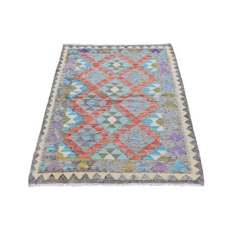 "Shahbanu Rugs Colorful Reversible Flat Weave Afghan Kilim Organic Wool Hand Woven Oriental Rug (3'0"" x 4'9"") - 3'0"" x 4'9"""