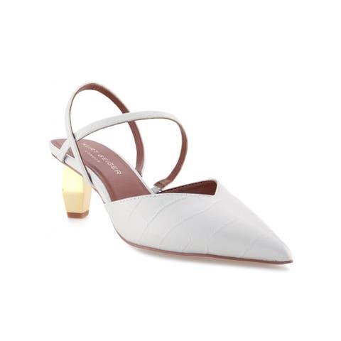 Kurt Geiger Women's Della Croc-Embossed Slingback Sandals White