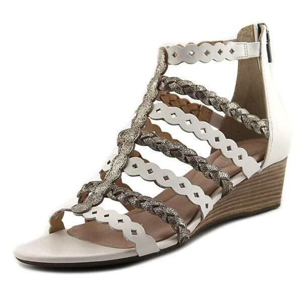 Rockport BX2252 Women Open Toe Leather White Wedge Sandal