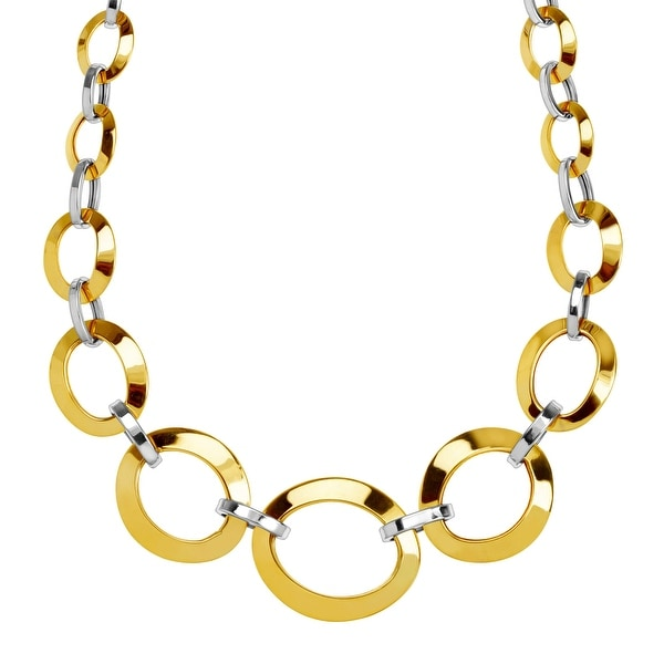 """Just Gold Graduated Oval Link Chain Necklace in 14K Two-Tone Gold, 18"""""""