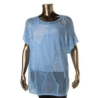 Jeanne Pierre Womens Open Stitch Short Sleeves Pullover Sweater