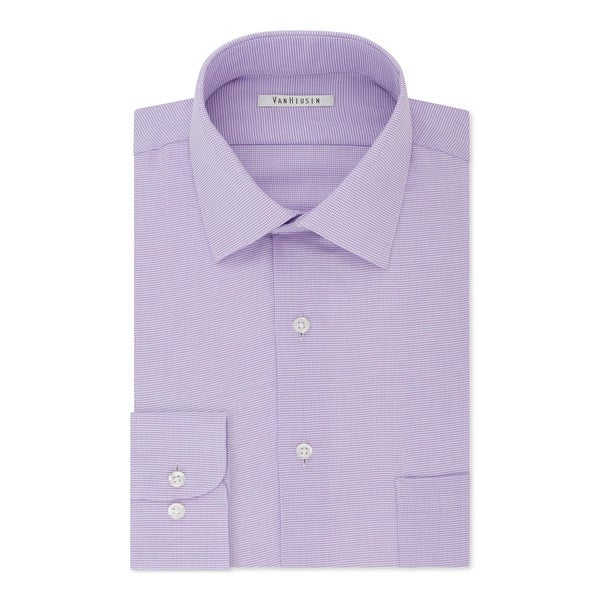 44e954b756 Shop Van Heusen Mens Dobby Button-Down Shirt Regular Fit Micro Houndstooth  Purple - 16 34/35 - Free Shipping On Orders Over $45 - Overstock - 26282638