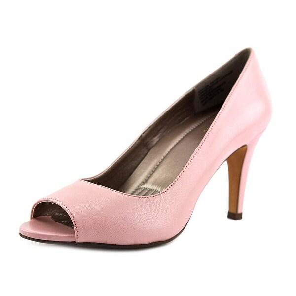 Easy Spirit Peep Toe Pump Women W Peep-Toe Leather Pink Heels