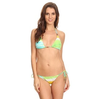 Shore Trendz Women's 2 Piece Tie Side Bikini Sky Printed Beach Swimwear Made in USA