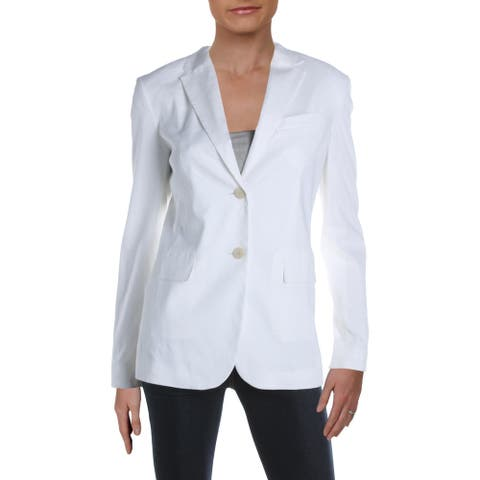 Theory Womens Classic Two-Button Blazer Linen Business - White