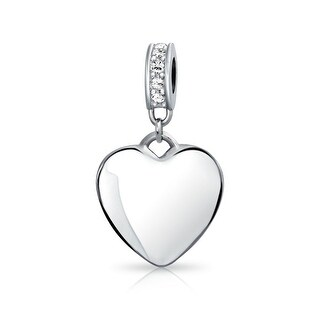 Bling Jewelry Imitation Clear Crystal Heart Shaped Dangle Bead Charm .925 Sterling Silver