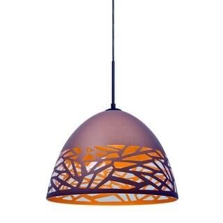 Besa Lighting 1JT-KIEVCP-LED Kiev Single Light LED Pendant with Stenciled Glass Shade
