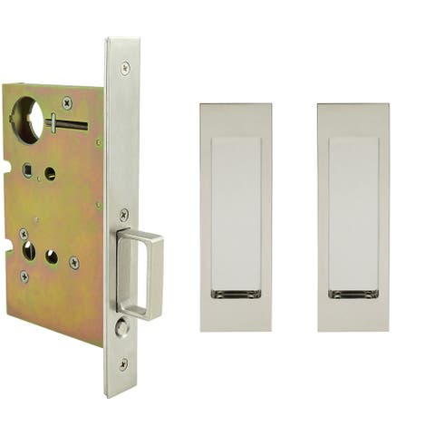 """INOX FH27PD8450-212 FH27 Series Keyed Entry Mortise Pocket Door Lock with 2-1/2"""" Backset and TT08 Thumb-Turn Release"""