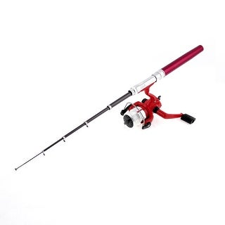 Unique Bargains Red Mini Pocket Pen Shaped Portable Fishing Rod Pole w Spinning Reel Combos